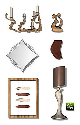 Sims 3 decorative, objects, lamp, mirror