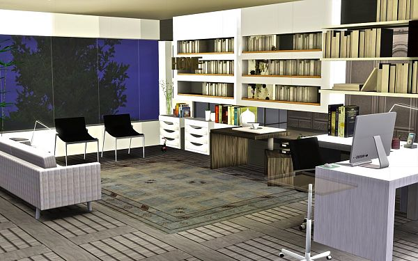 Sims 3 study, room, objects, decor