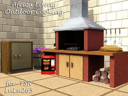 Sims 3 outdoor, set, barbeque, grill