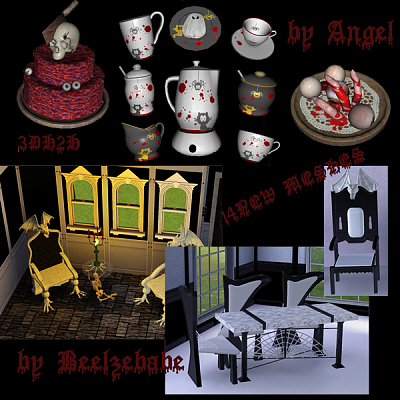 Sims 3 diningroom, objects, decor, halloween