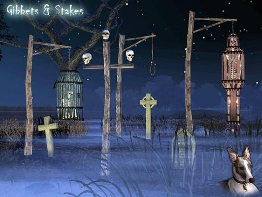 Sims 3 gibbets, stakes, halloween, decor