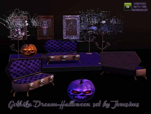 Sims 3 livingroom, furniture, objects, decor, ghotic