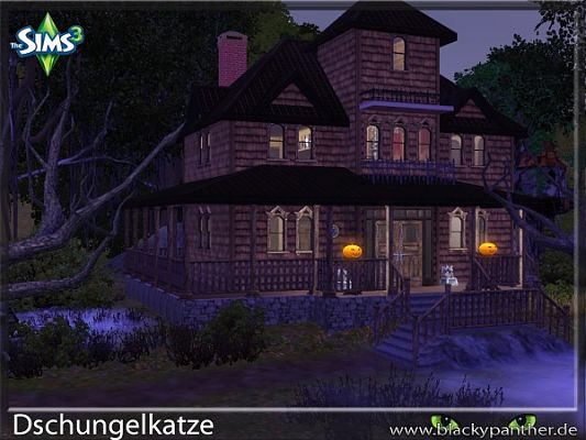 Sims 3 residential, lot, building, house, tree, decor, halloween