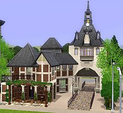 Sims 3 park, medieval, town, tower, cafe, florist, library