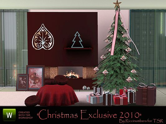 Sims 3 livingroom, Christmas, objects, decor