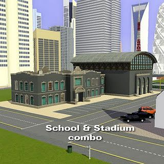 Sims 3 lot, community, school, stadium