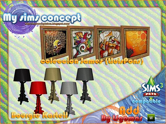 Sims 3 lamps, lighting, objects, paintings