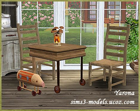 Sims 3 furniture, set, table, chair, pig, decor