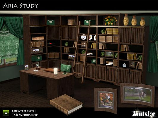 Sims 3 study, set, bookshelf, objects, decor