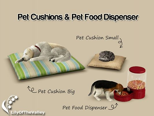 Sims 3 pet, cushions, food dispenser, objects