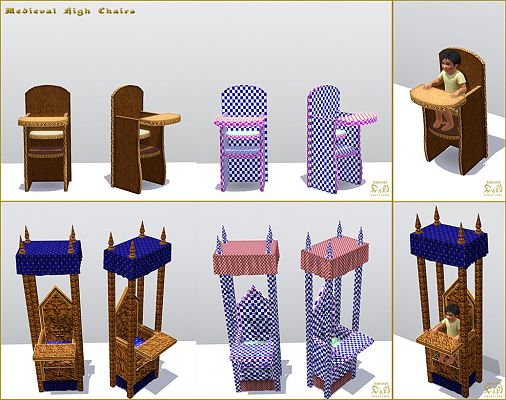 Sims 3 furniture, set, chair, medieval, kids