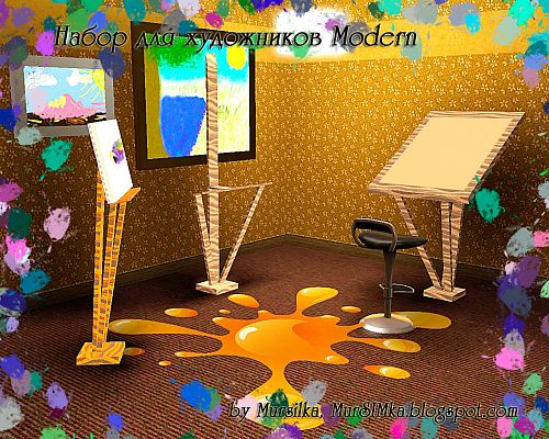 Sims 3 decorative, objects, set, artists