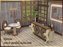 Sims 3 furniture, set, bar, table, rustic