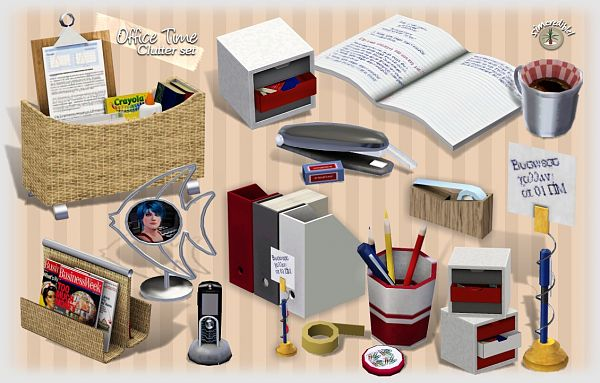 Sims 3 decorative, objects, clutter, office