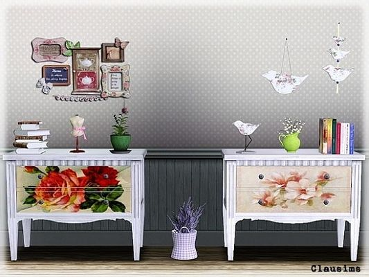 Sims 3 dresser, recolor, furniture, painted