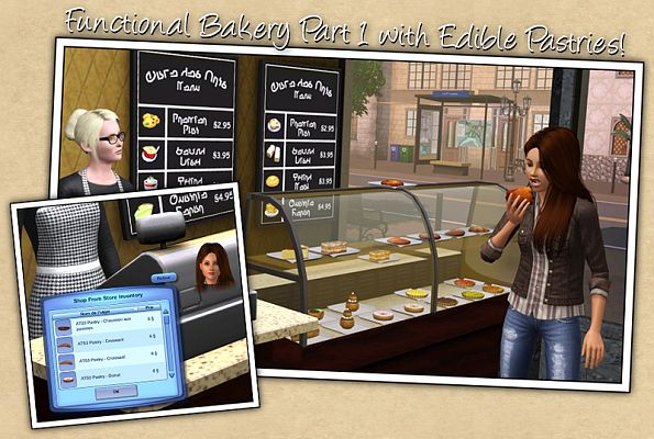 Sims 3 bakery, shop, objects, decorative