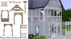 Sims 3 set, build, door, arch, fence
