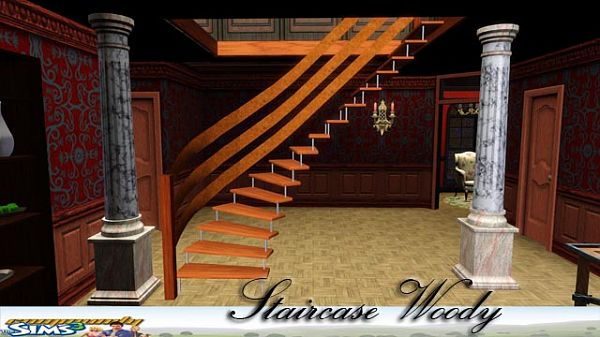 Sims 3 stairs, wood, build