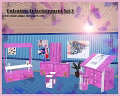 Sims 3 furniture, set, study, set, valentine