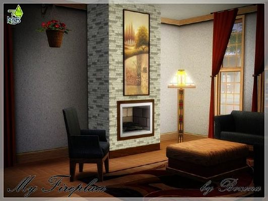 Sims 3 fireplace, build, decor, paintings