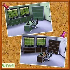 Sims 3 office, study, desk, chair, computer, fax
