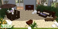 Sims 3 garden, furniture, lounge, chair, umbrella