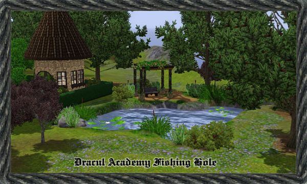 Sims 3 lot, community, pond, fishing