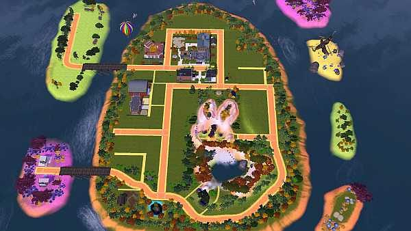 Sims 3 world, neighborhoood, island, easter, egg
