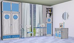 Sims 3 cabinet, bookcase, curtain, flower, mirror