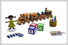 Sims 3 clutter, children, toys, crayons, letterblocks, train, doll, Paint box