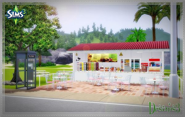 Sims 3 coffe, lot, community, fastfood