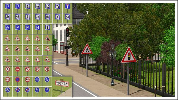 Sims 3 road, signs, outdoor