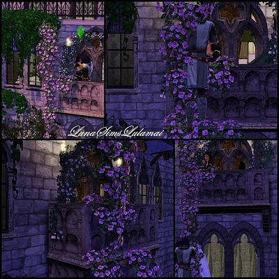 Sims 3 set, decor, balcony, window, curtain, objects