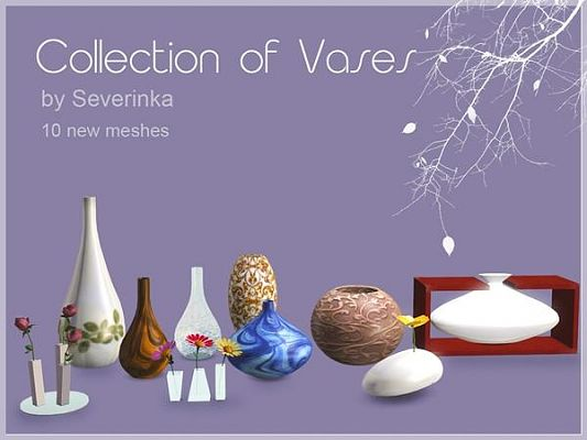 Sims 3 set, decor, vases, objects