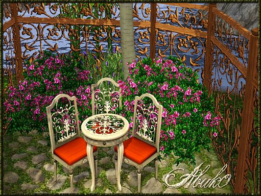 Sims 3 outdoor, set, furniture, chair, table
