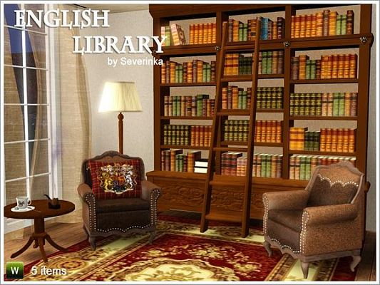Sims 3 library, set, english, furniture