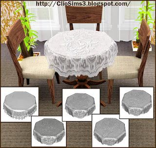 Sims 3 tablecloth, decor, objects