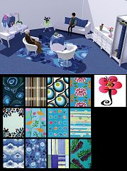 Sims 3 rugs, blue, decor