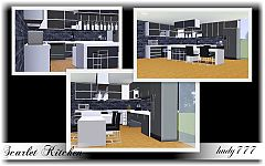 Sims 3 kitchen, cabinet, fridge, counter, shelve, dining table, stove