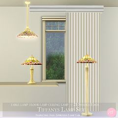 Sims 3 lamp, set, light, lighting, tiffany