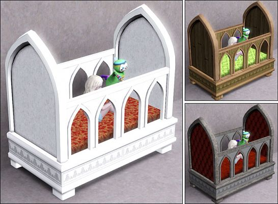 Sims 3 furniture, crib, bookcase, revival, gothic