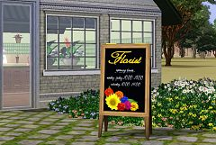 Sims 3 sign, flowers, outdoor, objects