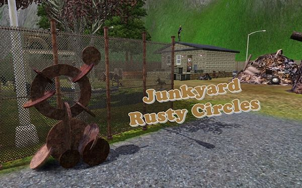 Sims 3 lot, junkyard, rusty