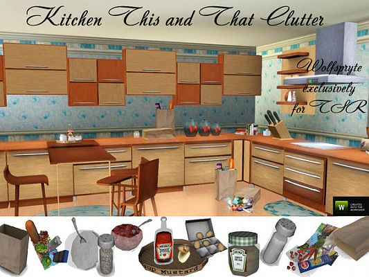 Sims 3 kitchen, decor, clutter