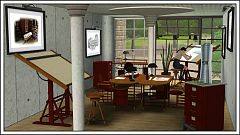 Sims 3 office, study, arhitect, furniture
