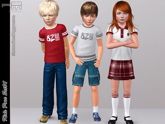 Sims 3 pose, poses, set, kids