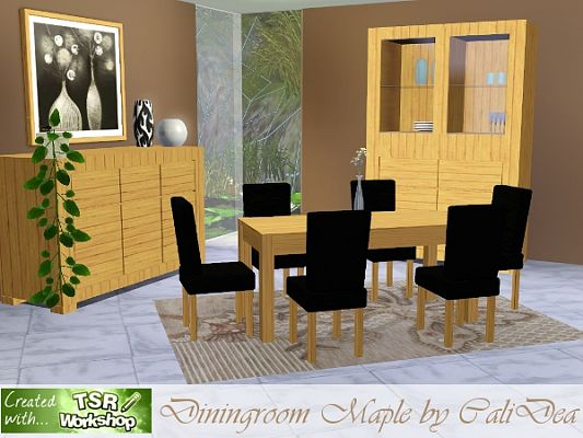 Sims 3 dinning, dinningroom, furniture, set, paintings