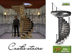 Sims 3 stair, stairs, build, arhitecture, castle