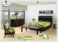 Sims 3 bed, dresser, lamp, paint, cofee table, seating, side table, rug