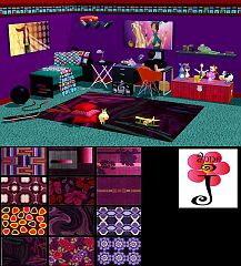 Sims 3 decor, rug, purple